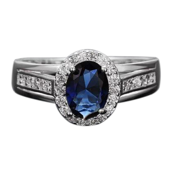 Bluelans Women's Party Oval Cubic Zirconia 925 Silver Plated Ring Jewelry Blue