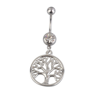 Handcrafted Tree of Life Dreamcatcher Belly Ring Navel Ring Body Piercing (Silver) (Intl)