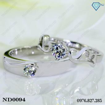 Nhẫn đôi nhẫn cặp bạc đẹp đôi cánh tình yêu ND0094