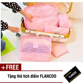 Bộ 6 túi đựng đồ đi du lịch Flancoo 3701 (Hồng) + Tặng kèm thẻ tích điểm Flancoo