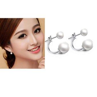 Khuyên tai nữ mẫu 2 hạt ngọc trai 6ly và 10ly thời trang KT555N