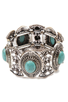 Fancyqube Classical Natural Hot Turquoise Cute Tibet Silver Bracelet Sliver