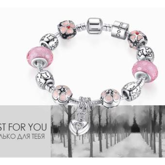 Vòng đeo tay Pandora titan mạ bạc phối đá pha lê màu đẹp mắt LLS - (Hồng)