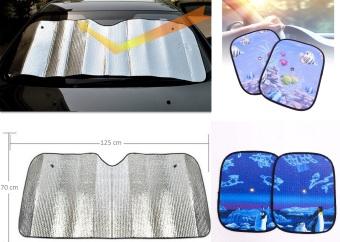 Bộ che chắn nắng phản quang gấp 125x70cm và 2 tấm che nắng cửa sổ ô tô SM115 (Xanh hoạt tiết)