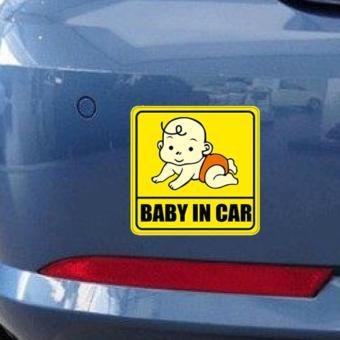 Decal dán xe oto phản quang Baby in car - Bé bé yêu yêu