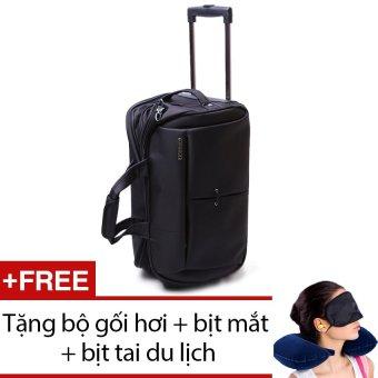 Túi du lịch có cần kéo Leavesking LV 8405 (Đen) + Tặng bộ 1 gối hơi + 1 bịt mắt + 1 cặp bịt tai du lịch