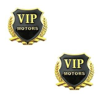 Bộ 2 logo VIP Motor dán xe ô tô (Vàng)