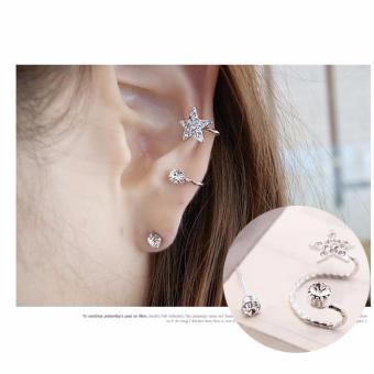 Khuyên tai kẹp nữ hình ngôi sao đính đá + Tặng kèm 1 nụ tai đính đá