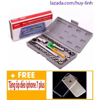Bộ dụng cụ sửa chữa ô tô, xe máy 40 món + Free ốp dẻo trong suốt cho iphone 7 plus