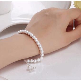 Vòng tay mạ bạc hạt châu may mắn thời trang xinh xắn SPN-D33(Bạc)