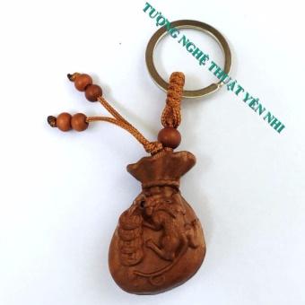 Móc treo chìa khóa phong thủy Tỳ hưu tài lộc gỗ Gụ