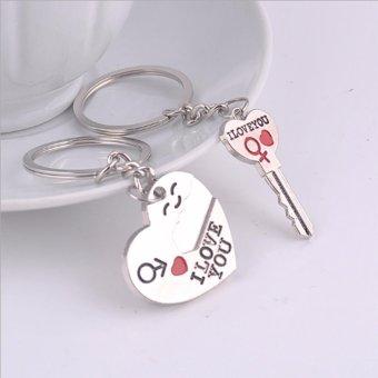 Cặp móc khóa tình yêu + Trái tim I Love You (Kẽm chống gỉ)