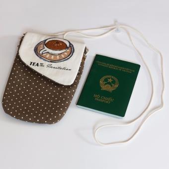 Túi đựng Hộ chiếu (Passport) Handmade Đeo Cổ - Ông Sao (Nâu + Chấm Bi Nhỏ