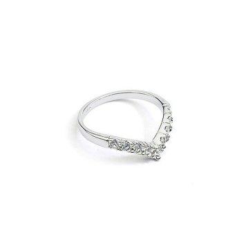 Nhẫn V đính hạt màu bạc