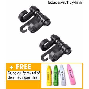 Bộ 2 móc treo đồ ô tô + Free dụng cụ lấy ráy tai có đèn màu sắc ngẫu nhiên