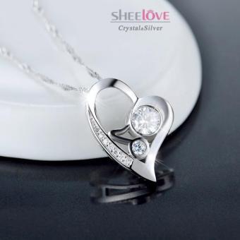 Dây chuyền bạc trái tim tình yêu lấp lánh SPN-DZ087(Trắng)