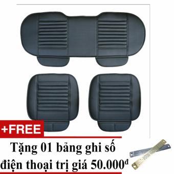 Bộ lót ghế da cho xe hơi mẫu 1 (Đen) + Tặng 01 bảng ghi số điện thoại