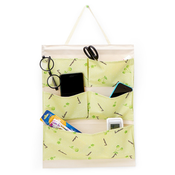 Túi treo 5 ngăn vải dày chống thấm + thanh gỗ (Cherry xanh lá)