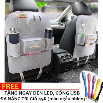 Túi bao ghế đựng đồ vật trên xe ô tô Loại 1 H89 (Xám) + Tặng đèn đa năng