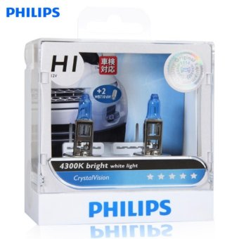 Bộ 2 bóng đèn Philips CrystalVision 4300 K chân H1