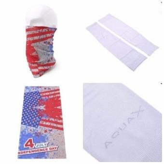 Bộ khăn đa năng và găng tay Aqua chống nắng UV đi phượt (Trắng)