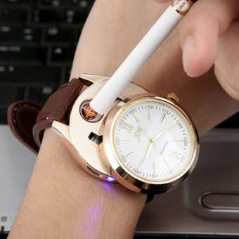 Đồng hồ bật lửa hồng ngoại sạc USB Kèm cáp sạc (Nâu Da)