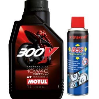 Bộ Bộ nhớt cho xe mô tô phân khối lớn Motul 300V Factory Line 10W40 1L và chai xịt bôi trơn sên B52