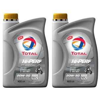 Combo 2 bình nhớt xe số Total Hi-Perf Special 20W50 0.8L