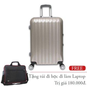 Vali du lịch nhựa cứng khung nhôm loại trung ký gởi 20Kg Champagne TA291