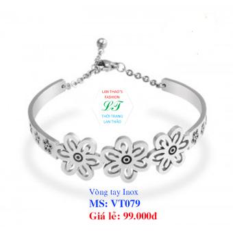Vòng tay Inox nữ bông hoa siêu xinh VT079 (Trắng)