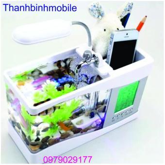 Bể cá mini phong thủy cho bàn làm việc (đen) + Loa X6u (hồng)
