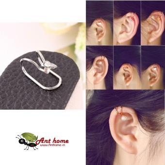 Bông tai nữ (Khuyên tai) đeo vành hình tai thỏ đính đá dễ thương mầu bạc (BT36)