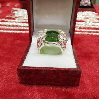 Nhẫn Bạc Nam Tứ Long Chầu Ngọc S92.5 Italia Bảo Tín (xanh lá)
