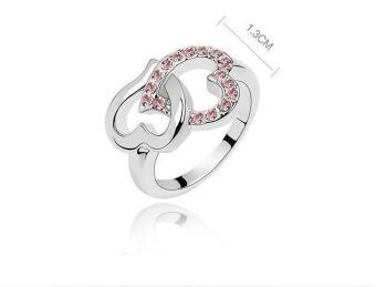 Nhẫn đôi tim lồng nhau màu bạc