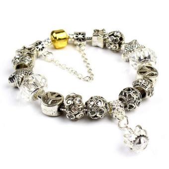 Vòng tay mạ bạc Phoenix hạt charms Jewelry Queen Victoria Charm Panda (Bạc)