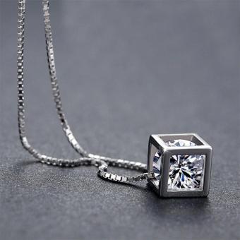 Dây chuyền bạc 925 pha lê Rubik khối vuông sn-ma187