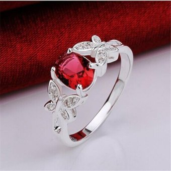 LALANG Fashion Silver Beautiful Butterfly Diamond Band Ring for Women 8# - intl