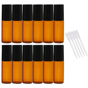 12 PCS 5ml Empty Dark Brown Glass Aromatherapy Perfume Essential Oil Roller Bottles Roll On Bottle + 5 PCS 0.2ml Dropper - intl