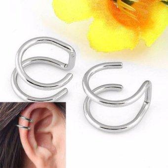 Bộ 2 bông tai kẹp inox BT279 (Màu bạc)