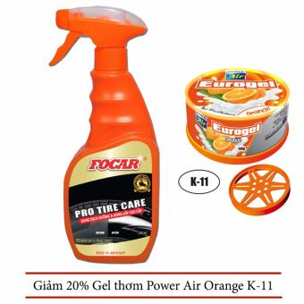 Dung dịch dưỡng và bóng lốp cao cấp Focar Pro Tire Care 500ml + Khuyến mại giảm giá 20% Gel thơm Power Air Orange K-11