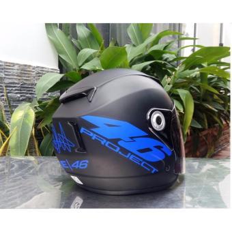 Mũ Bảo Hiểm moto napoli tem 46 xanh dương đen nhám ( kính trong)