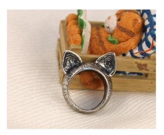 Nhẫn tai mèo dễ thương màu đồng