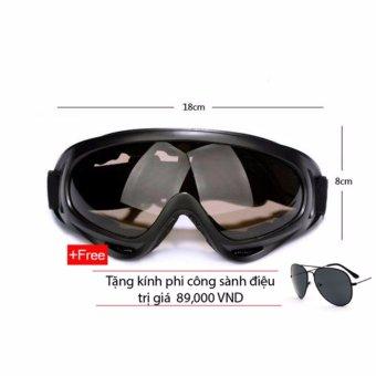 Kính bảo hộ chống bụi và UV400 (Nâu) + tặng kính mát phi công (Đen)