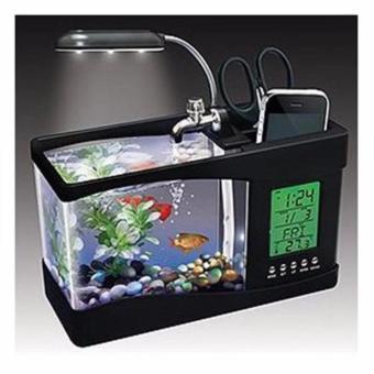 bể cá cảnh để bàn thư giãn kèm phụ kiện,có đèn led và đồng hồ (màu đen)