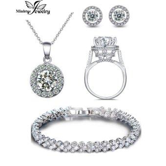 Bộ trang sức bạc đính đá 4 món thời trang minh tuệ SBT401