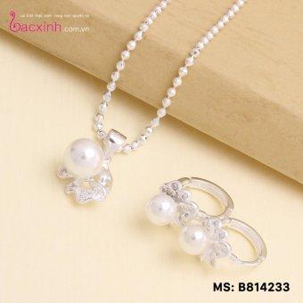 Bộ dây chuyền liền mặt, bông tai trang sức bạc Ý S925 Bạc Xinh - Ngọc trai đẹp PP1233-RYE140814