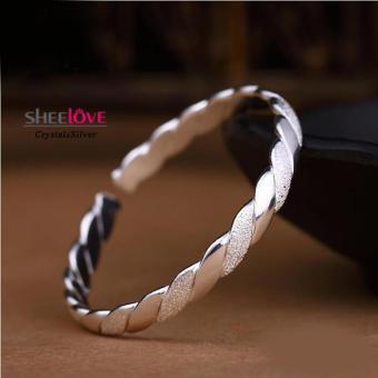 Vòng tay nữ bạc dạng xoắn so le bóng nhám cá tính xinh xắn SPB-N0633