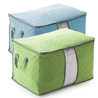 Bộ 2 túi vải đựng chăn màn quần áo (xanh lá - xanh dương)
