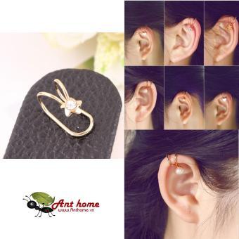 Bông tai nữ (Khuyên tai) đeo vành hoa chong chóng đính đá mầu vàng (BT44)