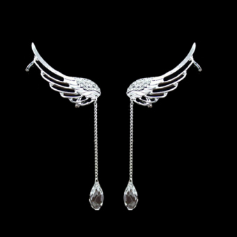 Angel Wing Crystal Chain Drop Dangle Ear Cuff Clip Earrings No Piercing - Intl